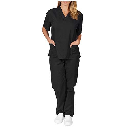 Zilosconcy Arbeitskleidung Kurzarm T-Shirts V-Ausschnitt + Hosen Pflege Set Medizin Arzt Berufsbekleidung Krankenschwester Kleidung Damen Uniformen Oberteil mit Tasche Unisex SchwarzXXL