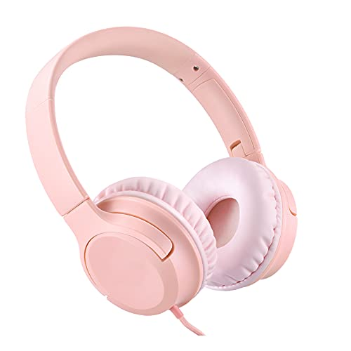 Kids Headphones, Wired Headphones with 94dB Volume Limit, Foldable Headphones for Girls, Teen, School, Travel, Online Learning, Compatible with Phone, PC, Chromebook, Tablet