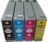 Set di 4 cartucce compatibili, sostituiscono le cartucce T7891/T7892/T7893/T7894 per stampanti WorkForce ProWF-5620DWF/WorkForce Pro WF-5690DWF/WorkForce ProWF-5110DW/WorkForce ProWF-5190DW