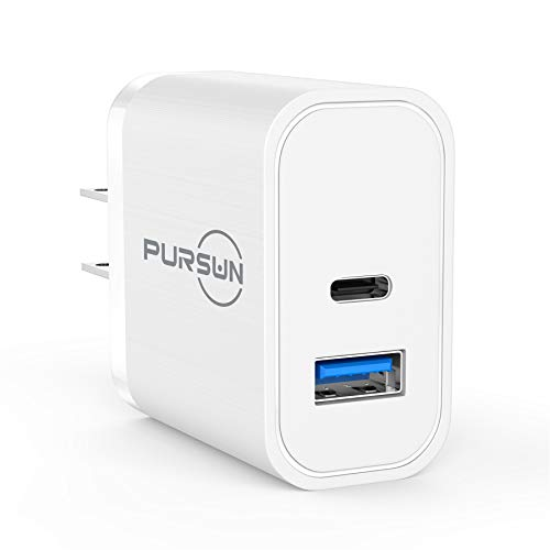 2020 Updated Power Delivery USB Wall Charger, QC 3.0 Technology, Fast 3A/18W Dual Ports Wall Charger, Portable Phone Charger Plug, Compatible with iPhone, iPad, Samsung, Google Pixel and More