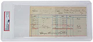 Rare George Herman Babe Ruth Autographed Signed Full Name Ledger Cut Yankees PSA/DNA Loa