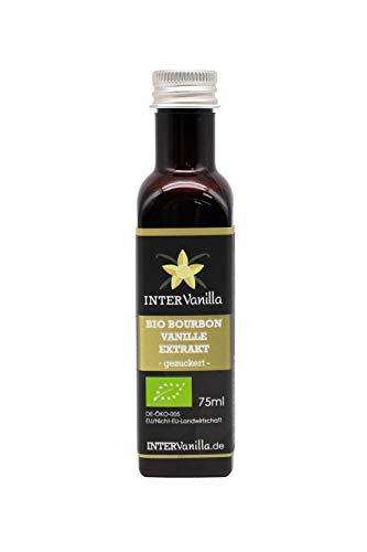 InterVanilla BIO Bourbon Vanille Extrakt, 75 ml. Vanilleextrakt flüssig OHNE Alkohol, auf Zucker Basis, vanilla extract for baking