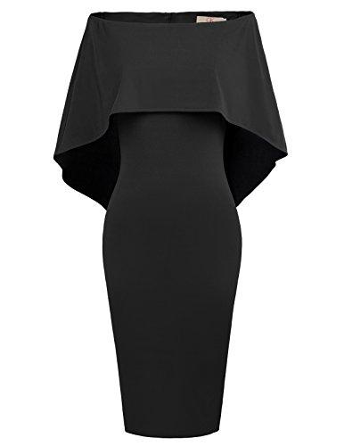 GRACE KARIN Womens Off Shoulder Cape Dress Strapless Ruffle Dress Size M Black