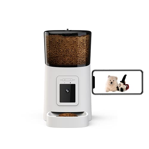 Momo's Choice Distributore automatico intelligente WIFI per gatti e cani con Videocamera Movibile incorporata Full HD voce bidirezionale con APP, Visione notturna e grandangolare (Bianco)