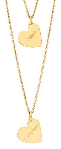 Malaika Raiss N3177 - Parure composta da 2 collane e 2 cuori in oro 24 carati placcato oro lucido