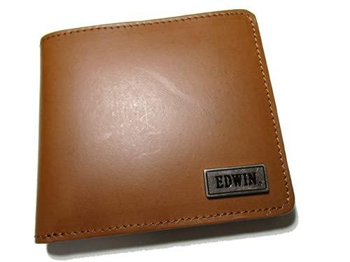 (エドウィン) EDWIN ブランド メンズ 財布 二つ折り イタリアンレザー キャメル しっかりしたレザーにおしゃれでシンプルなメタルロゴ プレゼントにも最適(The Little)