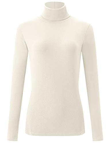 AUHEGN Womens Turtleneck T-Shirts Classic Knit Long Sleeve Pullover Sweater White Large