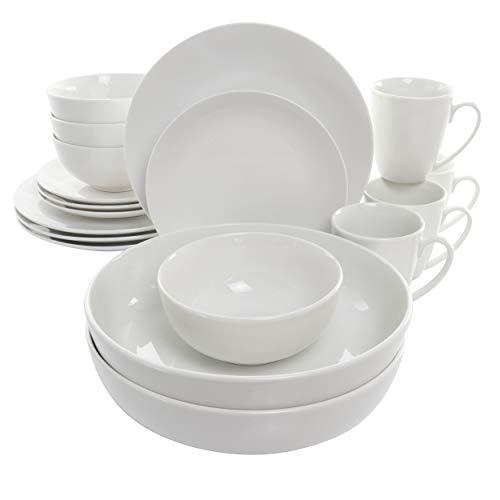 Elama White Porcelain Dish Dinnerware Set, 18 Piece, Owen