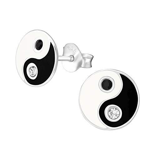 Monkimau Mädchen Ohrringe Yin Yang Ohrstecker aus 925 Sterling Silver echt Silber mit 4 Kristallen