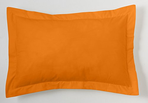 ESTELA - Funda de cojín Combi Liso Cala Color Naranja - Medidas 50x75+5 cm. - 100% Algodón - 144 Hilos - Acabado en pestaña