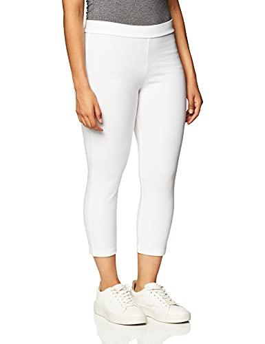 Hue Women's Wide Waistband Blackout Cotton Capri Leggings, Assorted Hosiery, White, Medium US