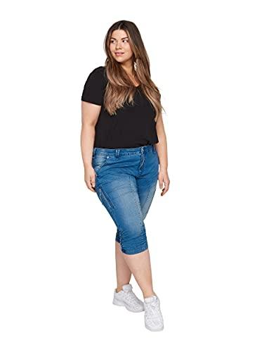 Zizzi Damen Große Größen Slim Fit Caprijeans mit Taschen Gr 50 Blau