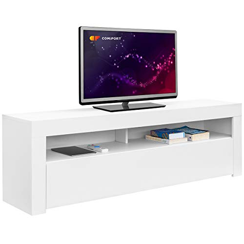 Comifort AP84B – Mueble TV Salon Moderno Mesa Television, Colores: Blanco, Blanco/Roble, Roble, Medidas: 160x35x50 Cm (Blanco)