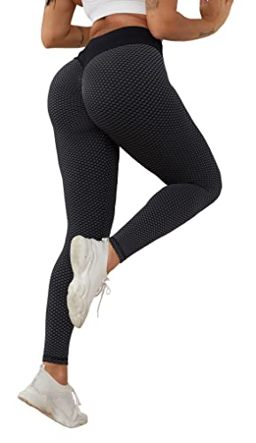 junlieng Booty Ruched tiktok Butt Leggings, Workout Running tumny Control Yoga Pants Textured Scrunch Tights Black