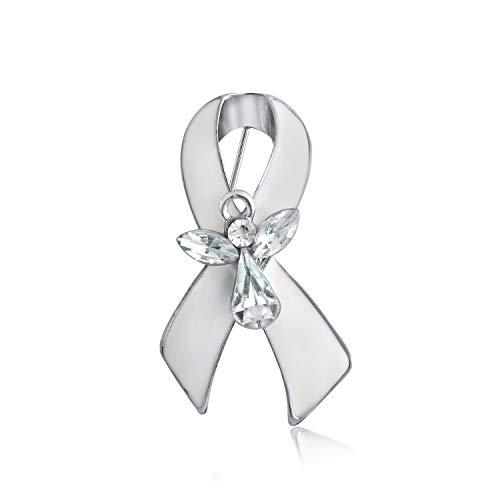 Bling Jewelry Nastro Bianco Cancro al polmone Sopravvissuto Guardian Angelo Spilla di Cristallo Spilla per Donne Smalto Argento Placcato