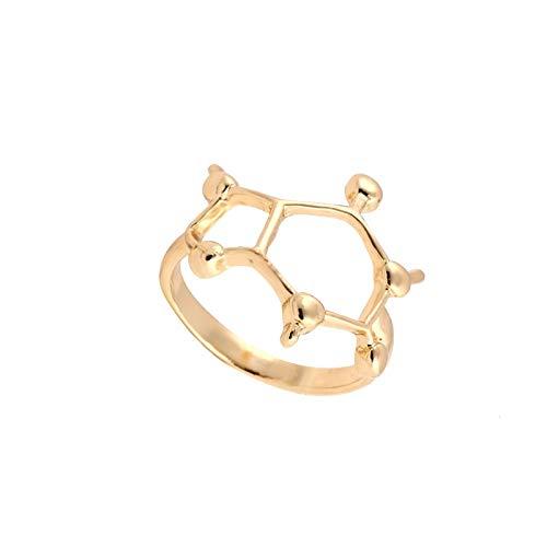BQZB Ring Anillo de Moda Anillo de Molécula de Cafeína Simple Química Joyería Ciencia Mujeres Anillos de Compromiso para Mujeres Regalos para Fiestas