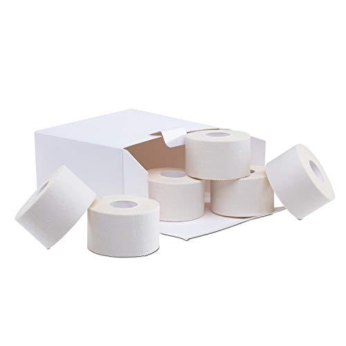ZiATEC Locker Sport Tape Pro - 10 metros | cinta adhesiva deportiva, para fijar canilleras, cinta para dedos, muñeca, tobillo y más, color:6 x blanco