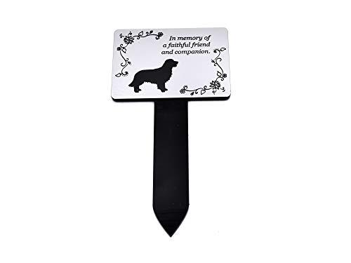 OriginDesigned Placa conmemorativa para perro, color plateado y negro, impermeable para jardín (Golden Retriever)