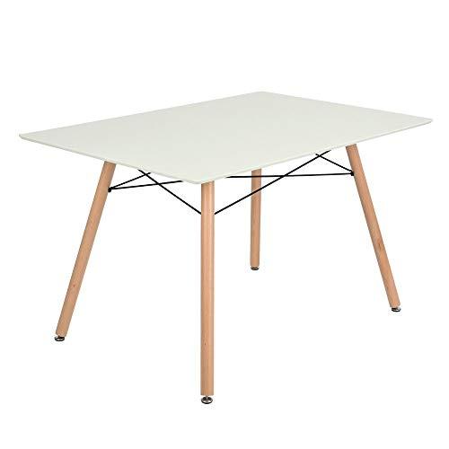 FurnitureR Mesa de Comedor Moderno Eames diseño escandinavo Blanco Retro Escritorio con Patas de Madera Color Blanco