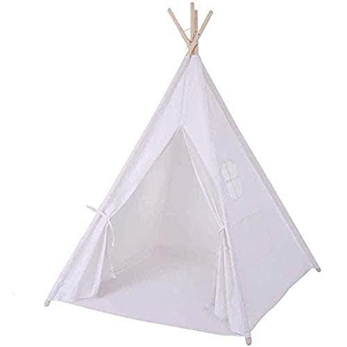 HGA Teepee Tent For Girls White Kids Teepee Tent With Floor Mat Children Tipi Tent Indian Wigwam Play Tent Indoor Outdoor,White