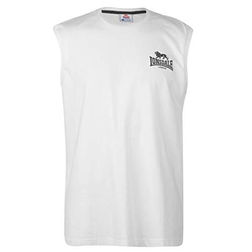 Lonsdale Hombre Sleeveless Camiseta Sin Mangas Blanco/Negro