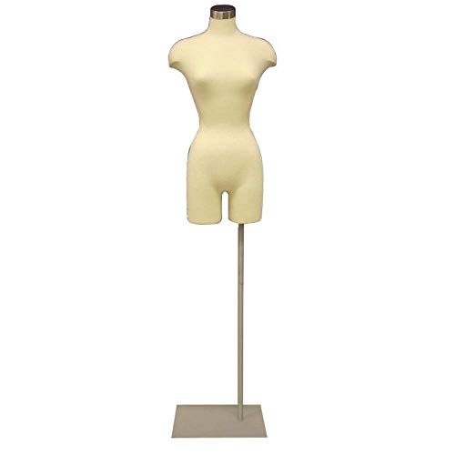 Adult Female Pinnable Off White Dress Form Mannequin Torso with Adjustable Square Metal Base #F2WLG-05