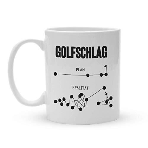 Sportler Tasse | Golfschlag Plan und Realität | Lustige Golftasse für Golfer
