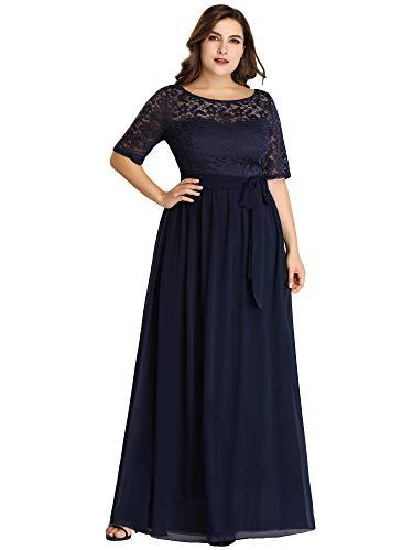 Ever-Pretty Damen Abendkleid A-Linie Spitze Abschlusskleid Kurze Ärmel große Größe lang Navy blau 48