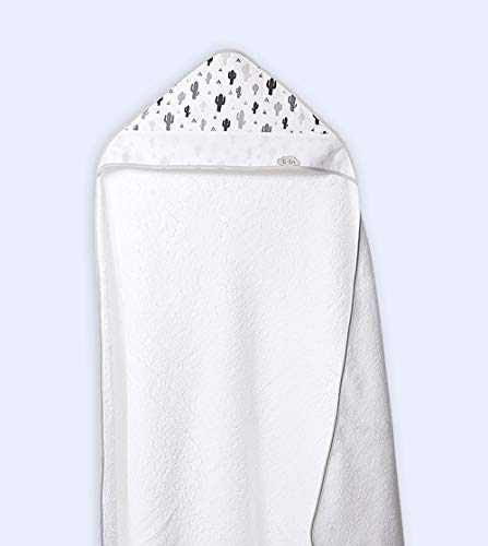 Ti TIN - Capa de Baño de Bebé + Capucha Punto de Cruz 100% Algodón con Tacto muy suave, Estampado CACTUS, 100x100 cm