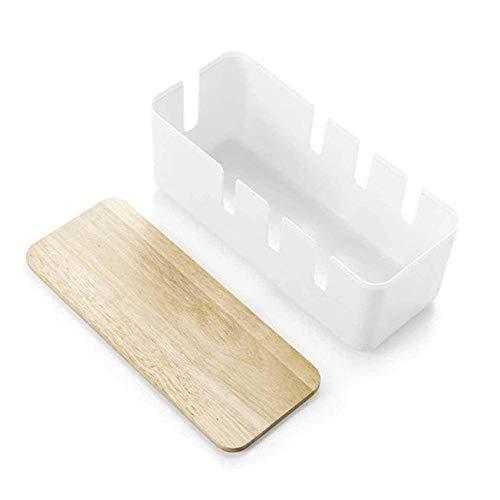 Caja de almacenamiento de cables cubierta de roble disipación de calor hueca decoración de dormitorio en casa a prueba de polvo