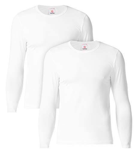 LAPASA Camiseta Térmica, Pack de 2 Manga Larga para Hombre. -Brushed Back Fabric Technique- M09 (S, Blanco)