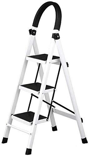 ZHJING Steg avföring vikbara vuxna stegar avföring med handgrepp, 330 kg belastning, 3 steg stegar för kök/kontor, 41 × 59 × 117cm (Color : White)