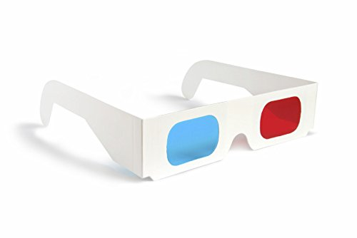 ASVP Shop 3D Glasses Made from White Card with Red and Cyan Lenses Suitable for Films, TV, Magazines, Comic Books, Anaglyph Videos, Internet Videos and Pictures and More (Pack of 10)