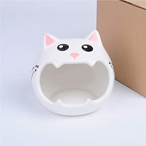 JUILE YUAN Hamster Hideout Ceramic Adorable Cartoon Shape Hamster House Chinchilla Mini Hut Small Animal Hideout Cave Cage Accessories for Small Animals Like Dwarf and Hedgehog (Pink cat)