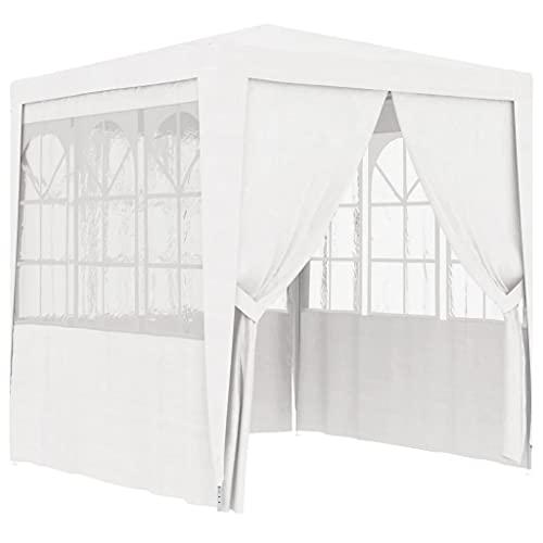 vidaXL Profi Partyzelt mit Seitenwänden UV-beständig Wasserbeständig Pavillon Festzelt Gartenzelt Bierzelt Gartenpavillon 2x2m Weiß 90g/m²