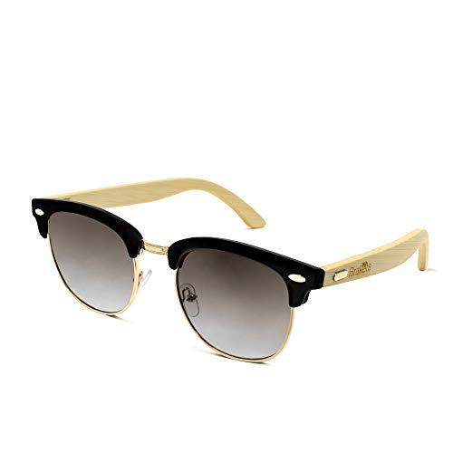 Brakets Gafas de sol Hombre/Mujer Gafas de sol con patilla de Madera de bambú // Protección UV400 // Cristal Oscuro