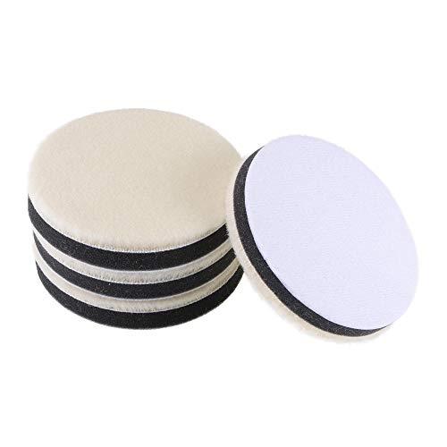 Uxcell 4 pulgadas de fieltro de lana esponja de pulido de gancho y bucle de pulido de la rueda de pulido fino para auto Orbital Pulidor Buffer 4 piezas