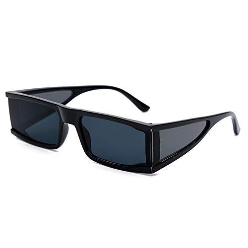 ShSnnwrl Único Gafas de Sol Sunglasses Gafas De Sol Pequeñas Rectangulares A La Moda para Mujer, Espejo De Lujo, Plateado, Negro,