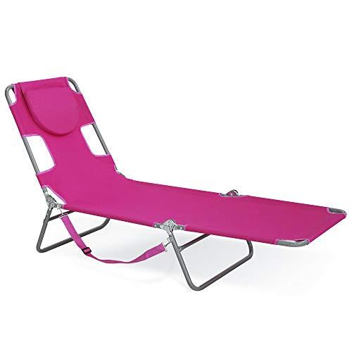 Sigtua, Strandstuhl, Sonnenliege, mit Rückenlehne Campingstuhl, Relaxliege, tragbarer Klappstuhl, Strandliege, Gartenstuhl, Liegestuhl für Outdoor-Aktivitäten Lila
