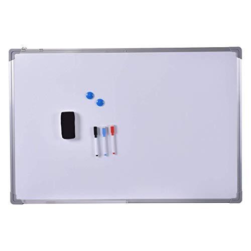 COSTWAY Lavagna Magnetica Bianca, Lavagna Cancellabile con Cornice in Alluminio per Scuola Casa Ufficio, Vari Dimensioni Disponibili (90 x 60 cm)
