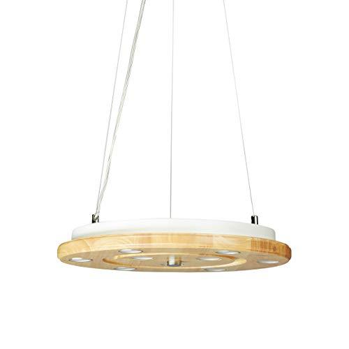 Relaxdays, Natur/weiß LED Deckenleuchte, 9-flammig, rund, verstellbar, 3 Halteseile aus Metall, Holz, 40cm Ø, 100cm lang, Standard