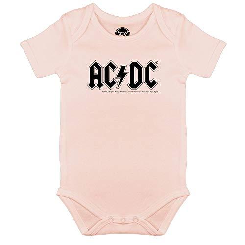 Metal Kids AC/DC (Logo) - Baby Body, Hellrosa, Größe 80/86 (12-24 Monate), offizielles Band-Merch