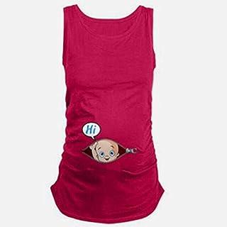 تي شيرتات - تي شيرت صيفي كبير أصلي للحوامل بدون أكمام تي شيرتات للأمهات ملابس الرضاعة العلوية فيست حمل طويل 706286 (أحمر و...