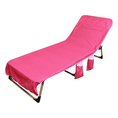 Toalla de playa, funda para sillón de playa, con bolsillo lateral, color rosa