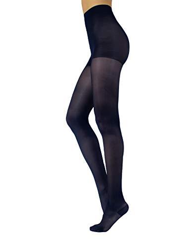 CALZITALY Stützstrumpfhose mit starker Kompression | Feine Kompressionsstrumpfhosen Damen | S, M, L, XL | Schwarz, Hautfarbe | 70 DEN | Made in Italy (XL, Blau)