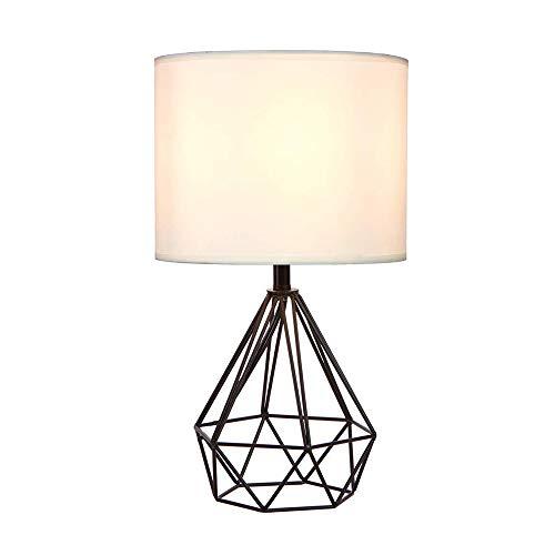 Keisl Tischlampen für Wohnzimmer, moderne Metall-Lampen mit weißem Lampenschirm, elegante weicht Helligkeit, hilft Licht gleichmäßig zu verteilen, was die Belastung der Augen verhindert, Schwarz