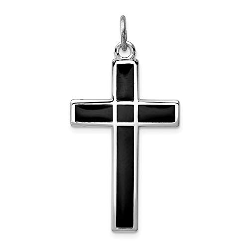 Saris and Things 925 Sterling Silber rhodiniert brshed und poliert enml Black Cross anhänger in Form von