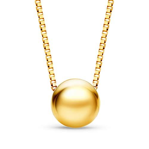 Orovi Damen Kette Gelbgold Halskette mit Anhänger Kugel 9 Karat (375) Gold, 45 cm lang