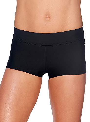 Reebok Lifestyle Women's Swimwear Infinity Drawcord Shorty Bathing Suit Bottom, Black, Large