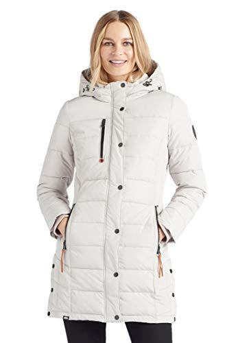 khujo Delinas - Abrigo acolchado con capucha y forro polar para mujer beige S